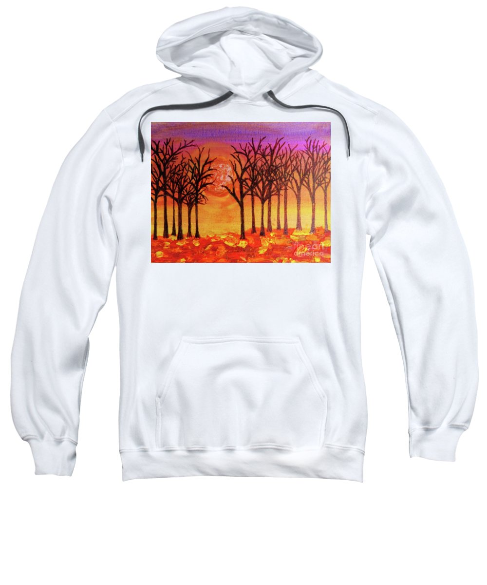 Mixed Media Sweatshirt featuring the painting Fall Treeline At Sunset by Desiree Paquette
