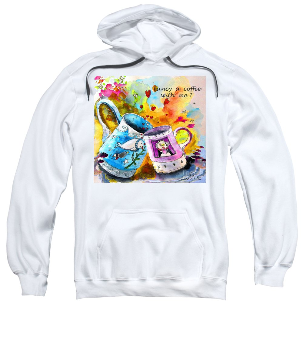 Cafe Crem Sweatshirt featuring the painting Fancy A Coffee by Miki De Goodaboom