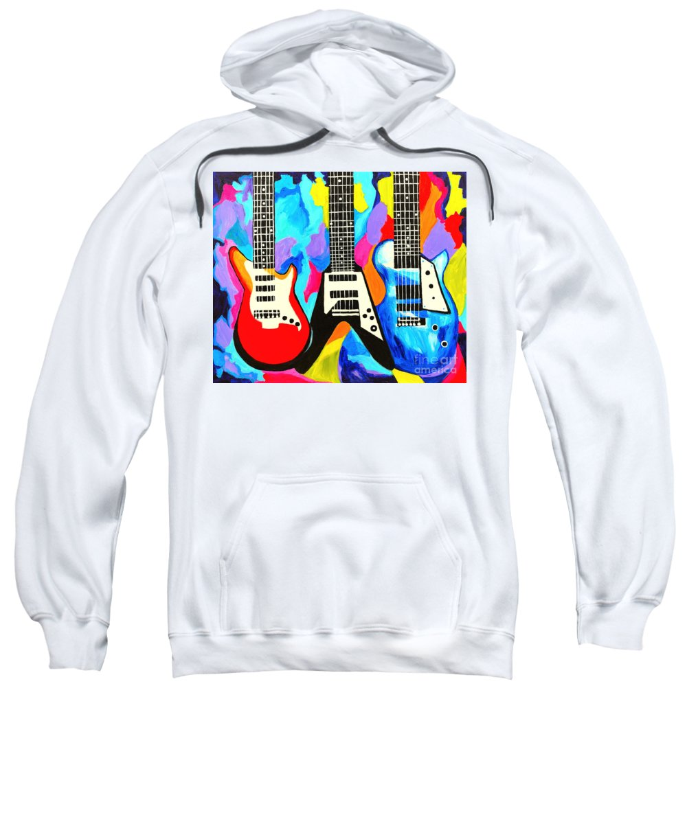 Guitars Sweatshirt featuring the painting Fancy Guitars by Art by Danielle