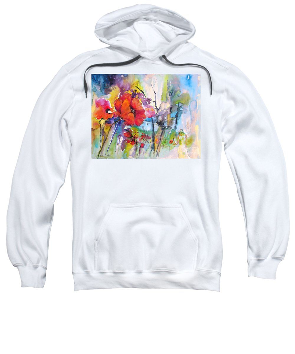 Flowers Sweatshirt featuring the painting Fantaquarelle 01 by Miki De Goodaboom