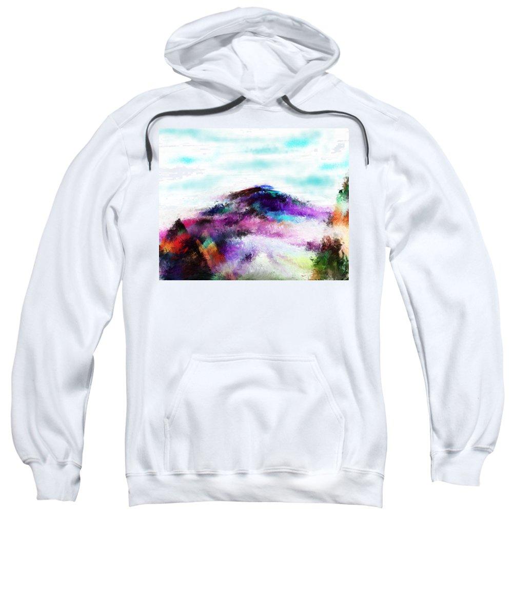 Digital Painting Sweatshirt featuring the digital art Fantasy Mountain by David Lane