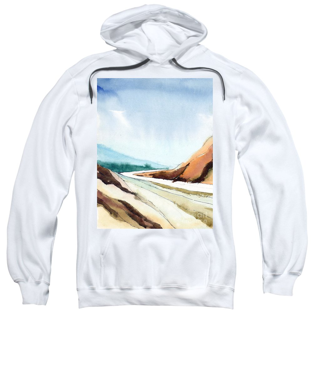 Landscape Sweatshirt featuring the painting Far Away by Anil Nene