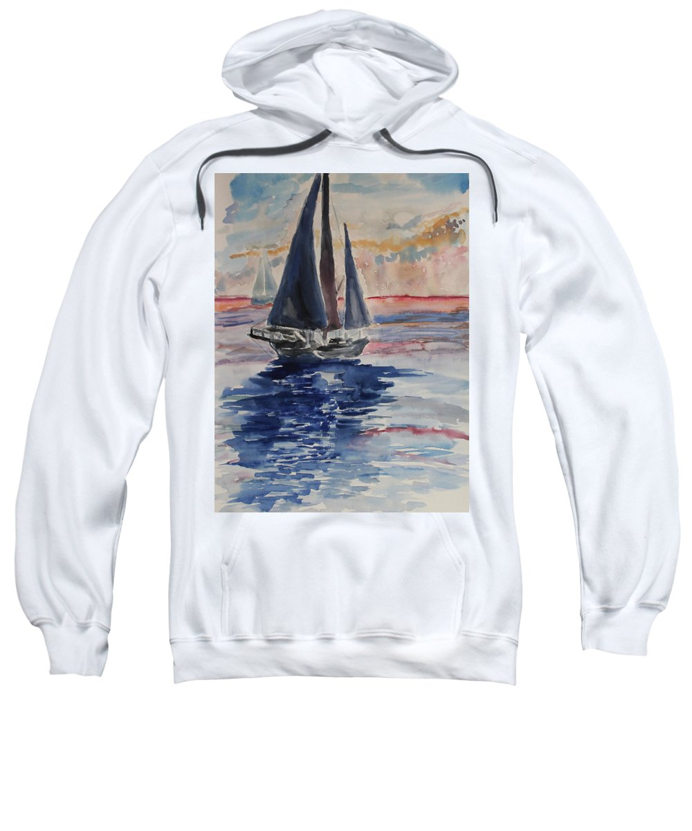 Sailboat Sweatshirt featuring the painting Far Away by Stephen Parulski