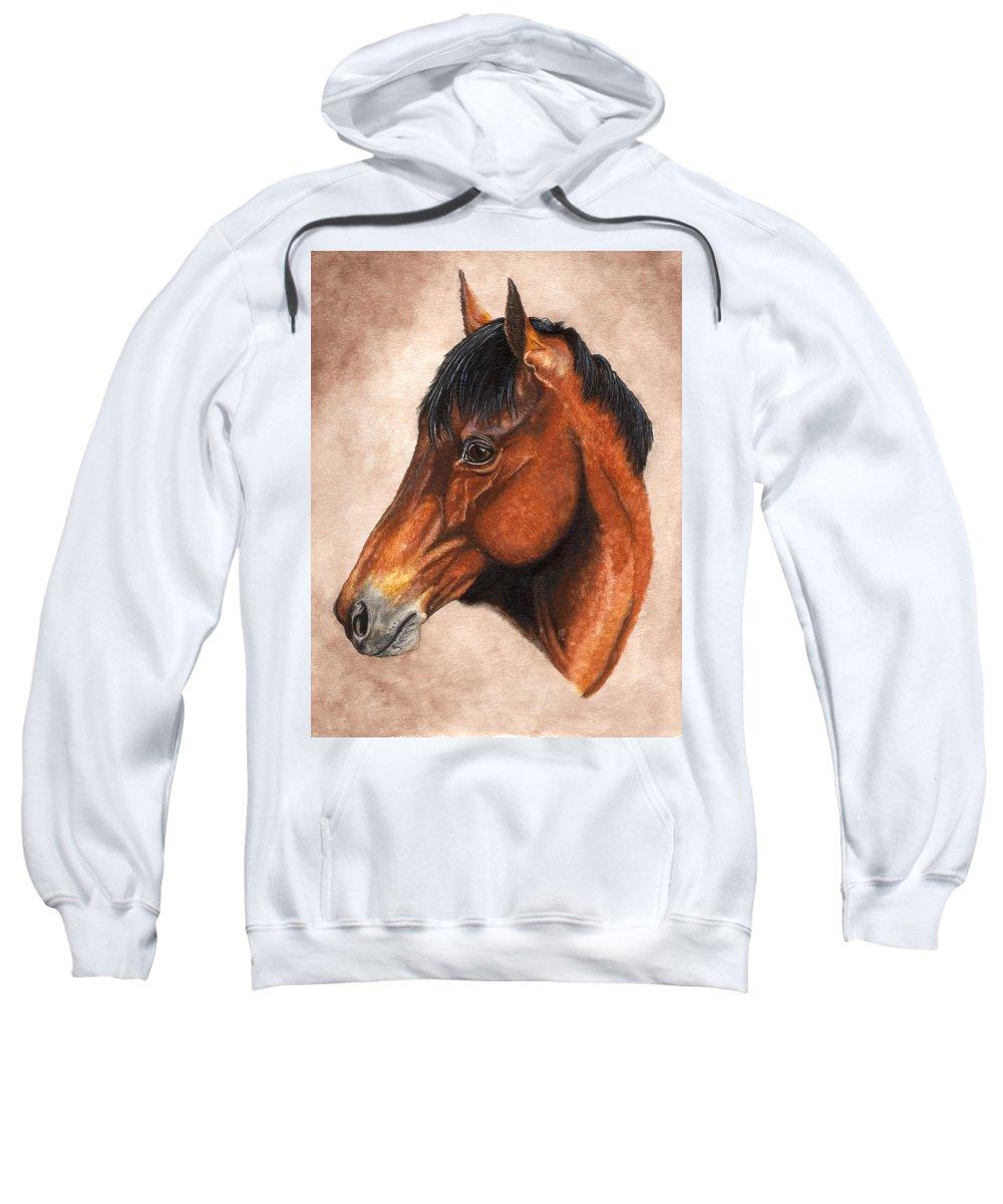 Horse Sweatshirt featuring the painting Farley by Kristen Wesch