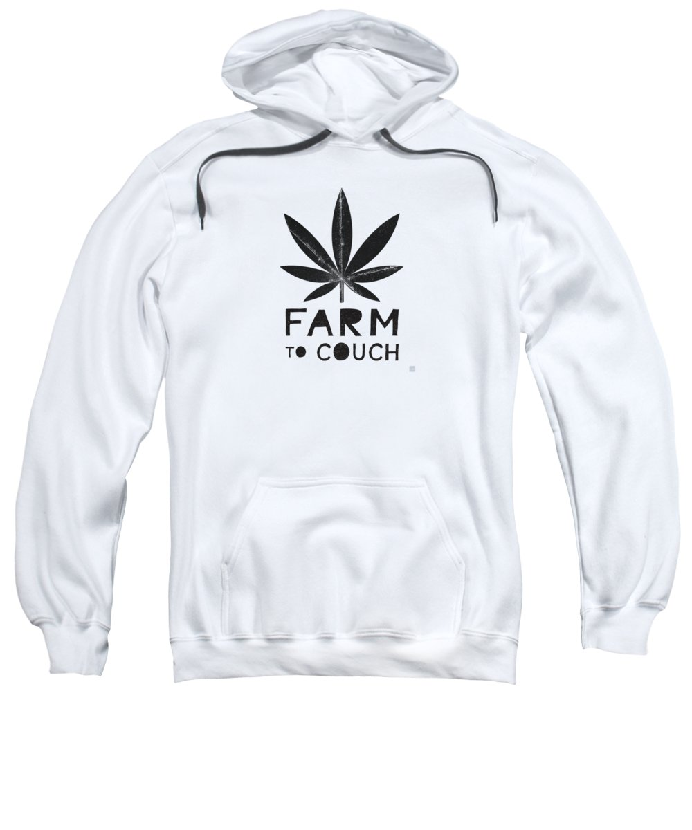 Cannabis Sweatshirt featuring the mixed media Farm To Couch Black And White- Cannabis Art By Linda Woods by Linda Woods