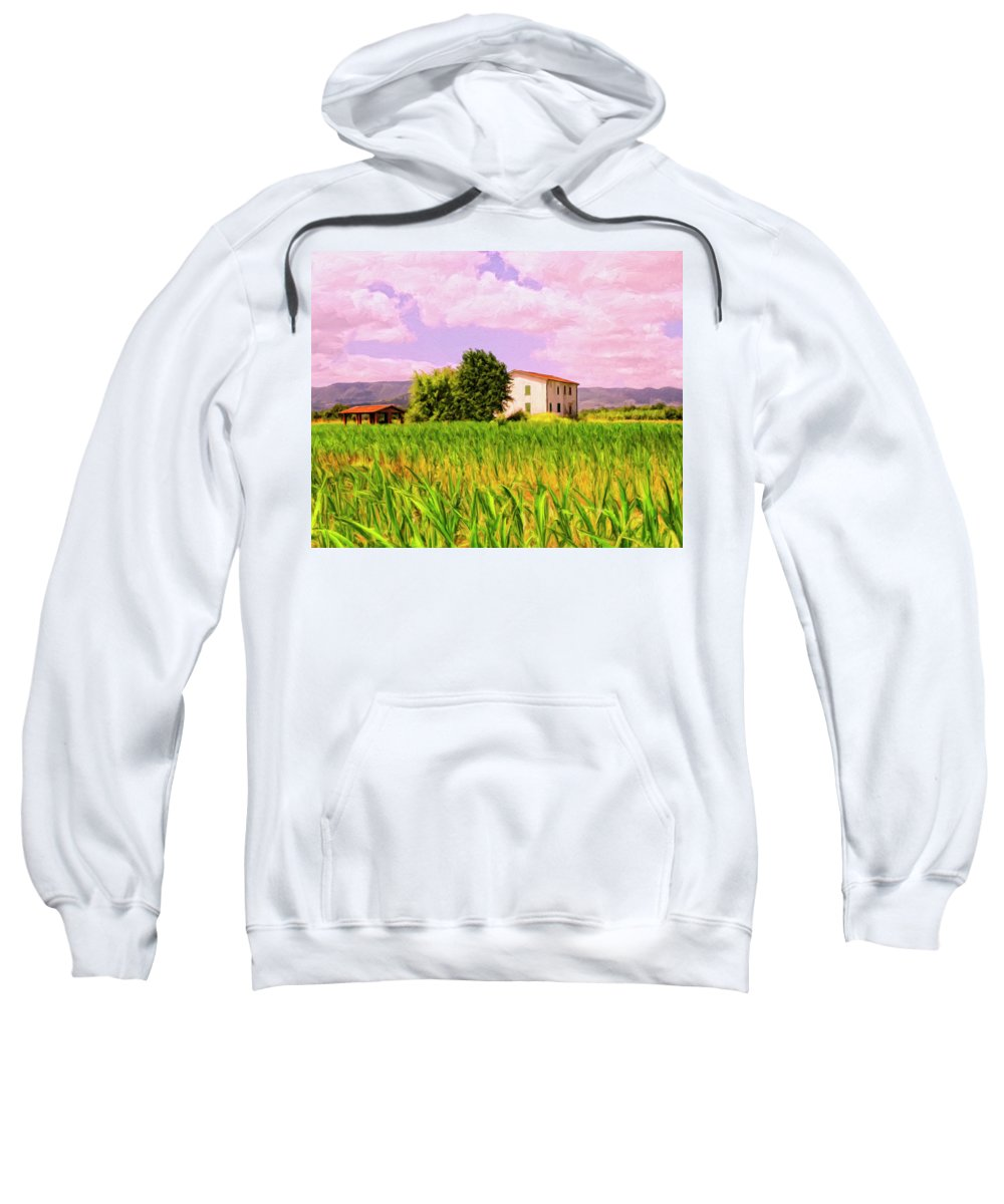 Farm Sweatshirt featuring the painting Farmhouse In Tuscany by Dominic Piperata