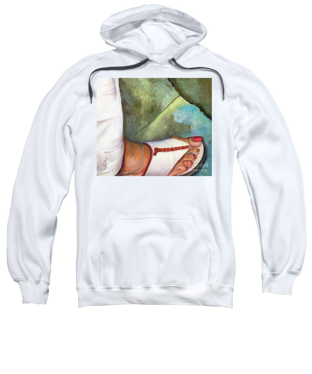 Figurative Sweatshirt featuring the painting Fashion Feat by Marlene Book