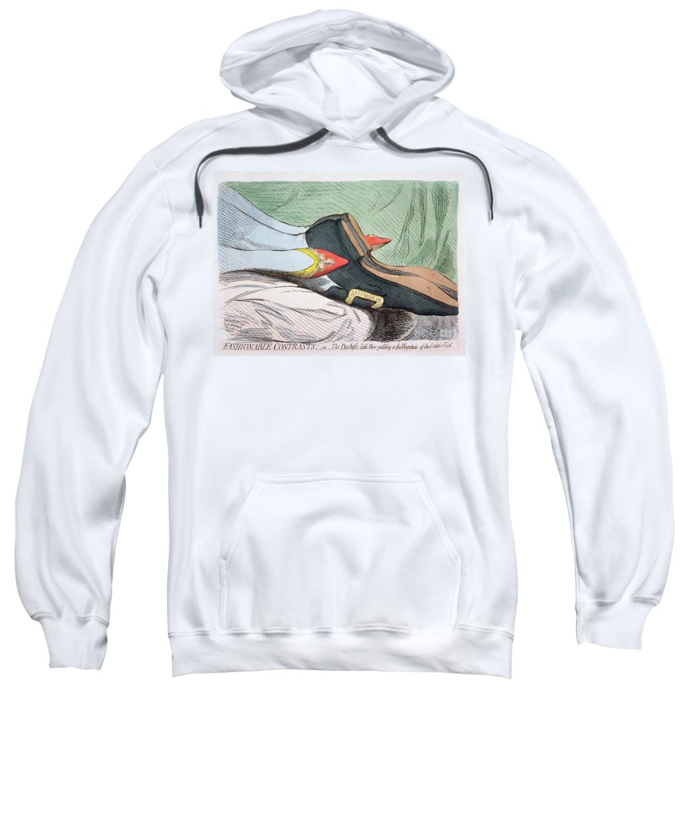 Fashionable Sweatshirt featuring the painting Fashionable Contrasts by James Gillray