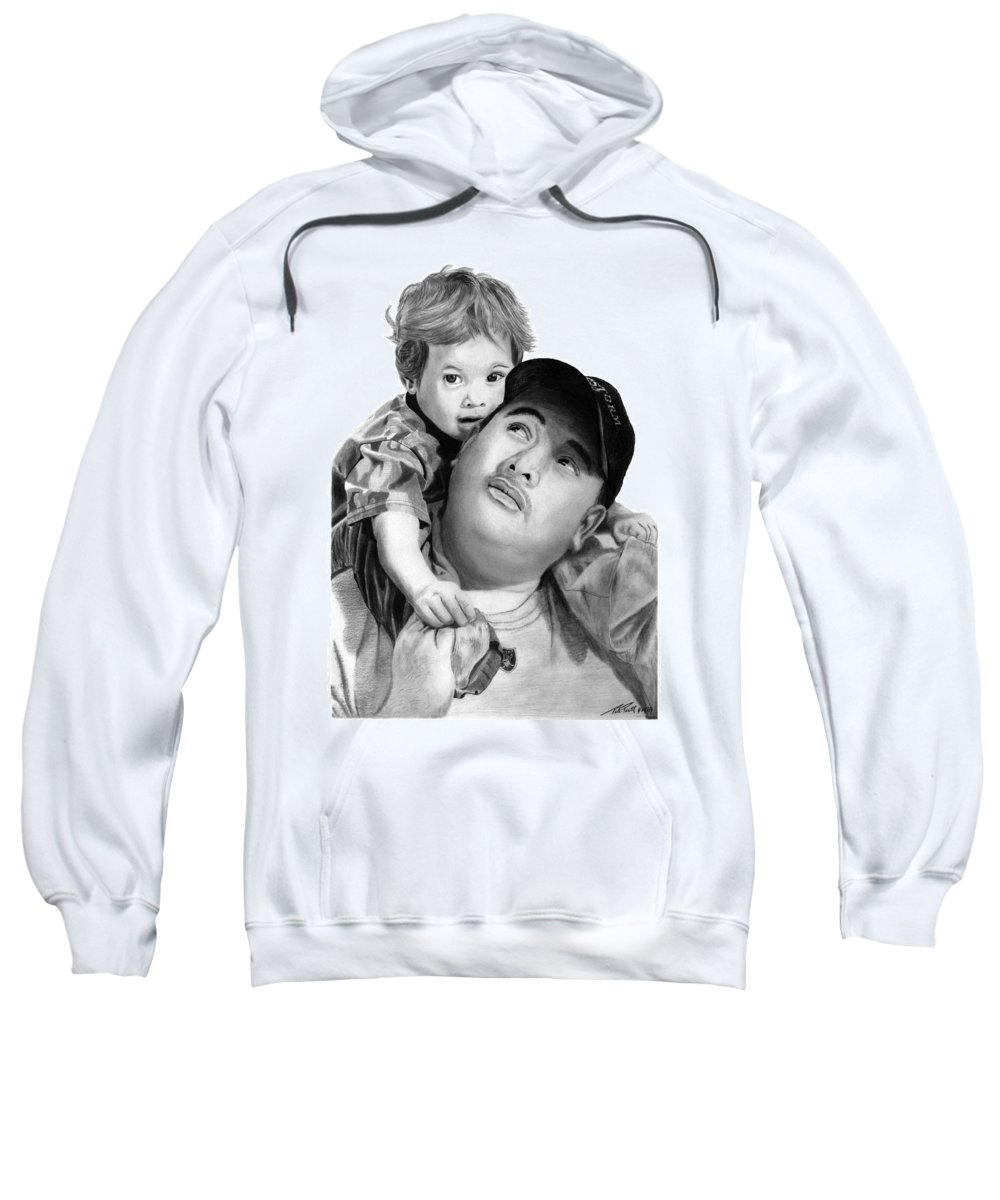 Father And Son Sweatshirt featuring the drawing Father And Son by Peter Piatt