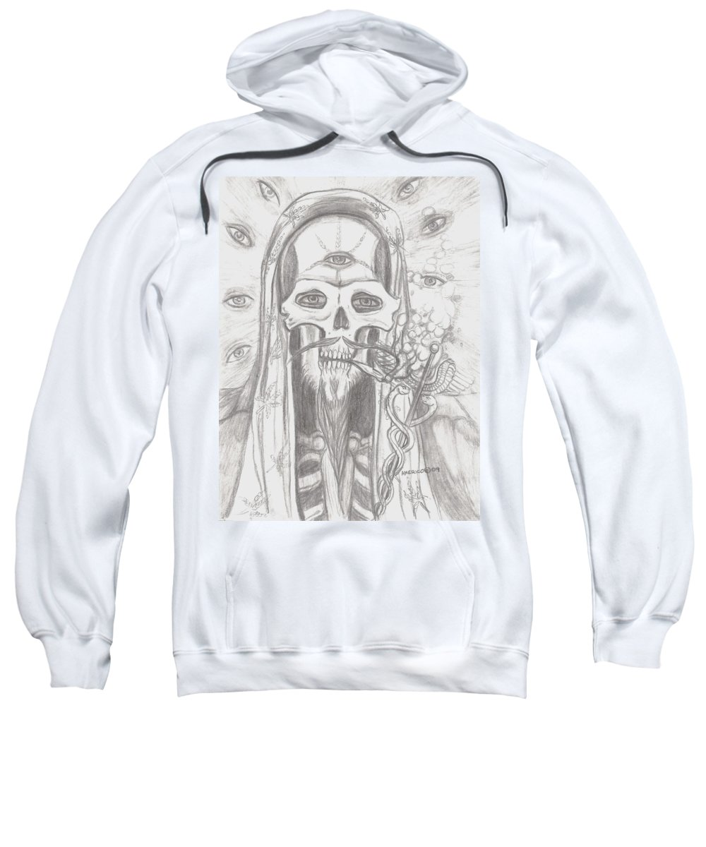 Skeleton.eyes Sweatshirt featuring the drawing Father Health And Wisdom by Americo Salazar