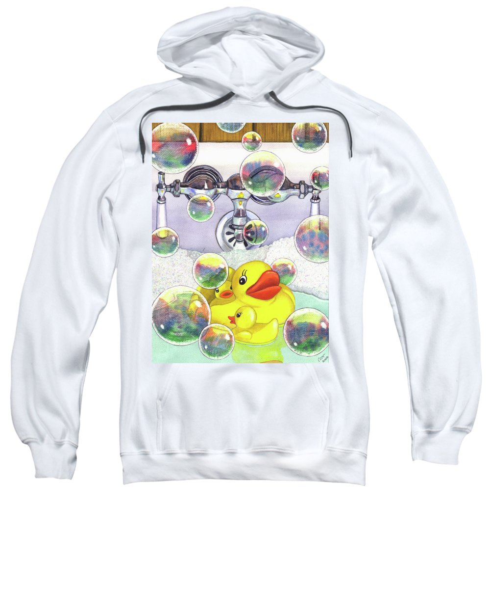 Bubbles Sweatshirt featuring the painting Feelin Ducky by Catherine G McElroy