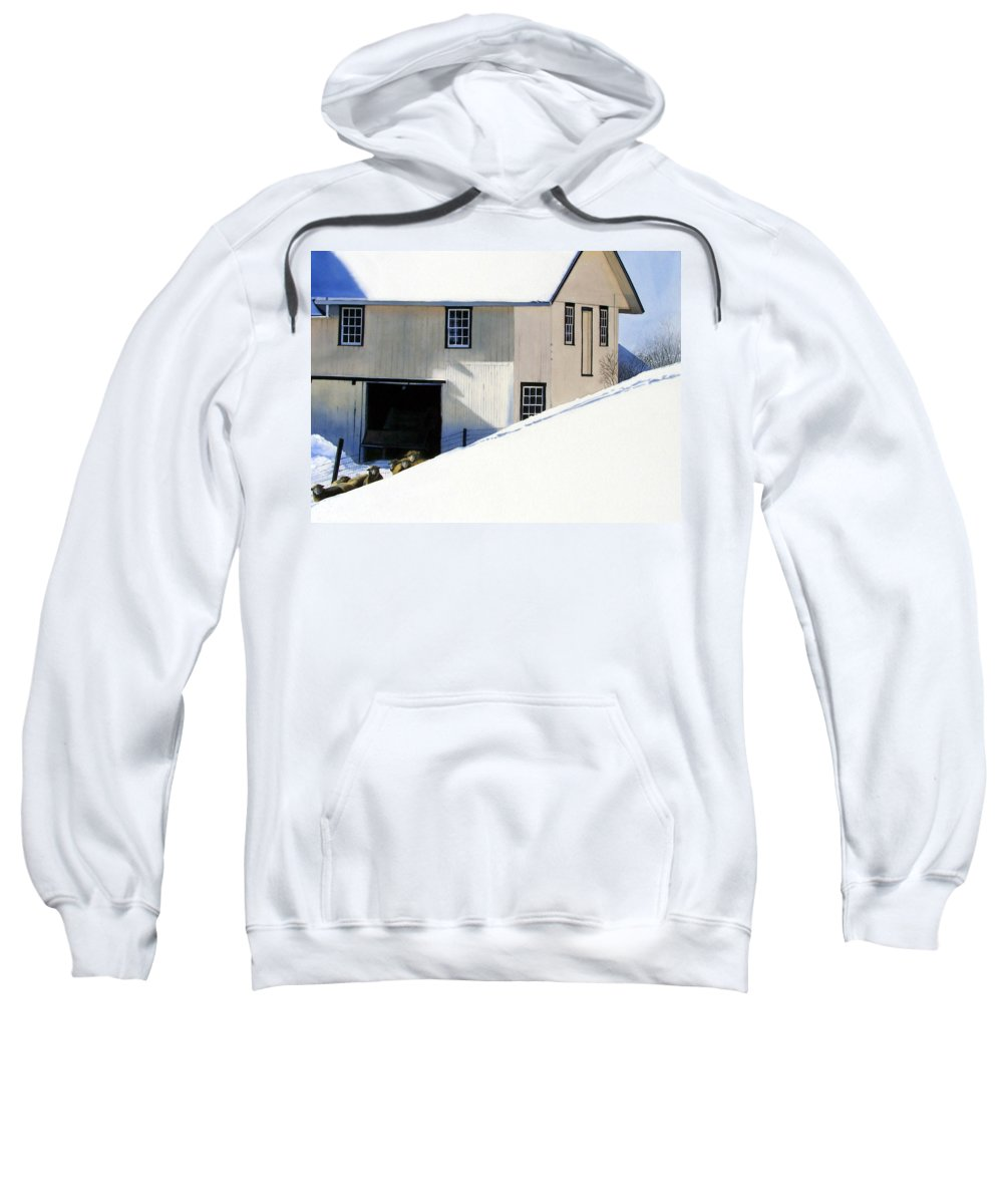 Barn Sweatshirt featuring the painting Fenced In by Denny Bond