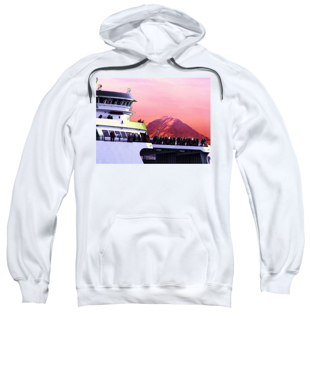 Seattle Sweatshirt featuring the digital art Ferry And Da Mountain by Tim Allen