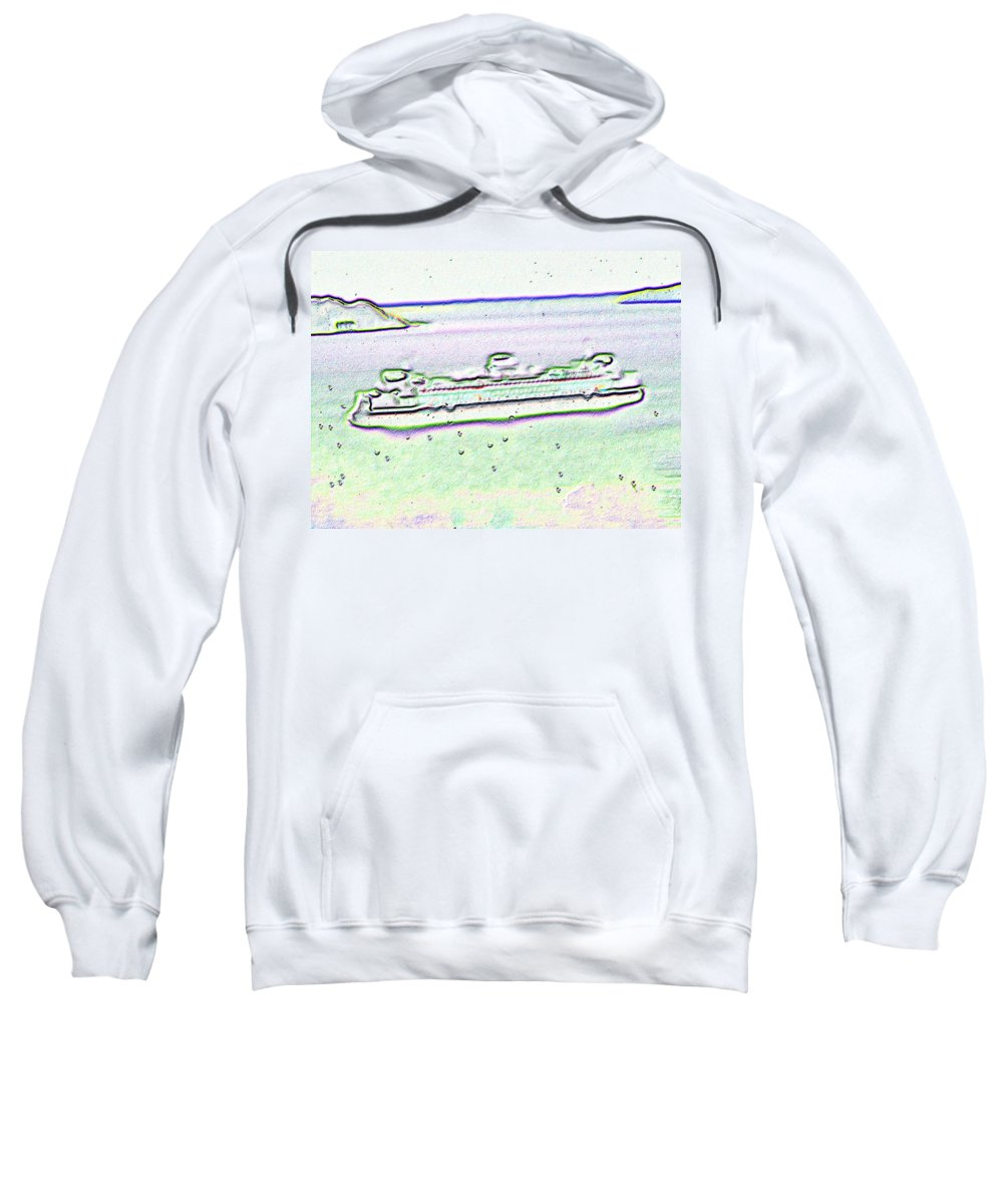 Seattle Sweatshirt featuring the photograph Ferry In The Rain by Tim Allen