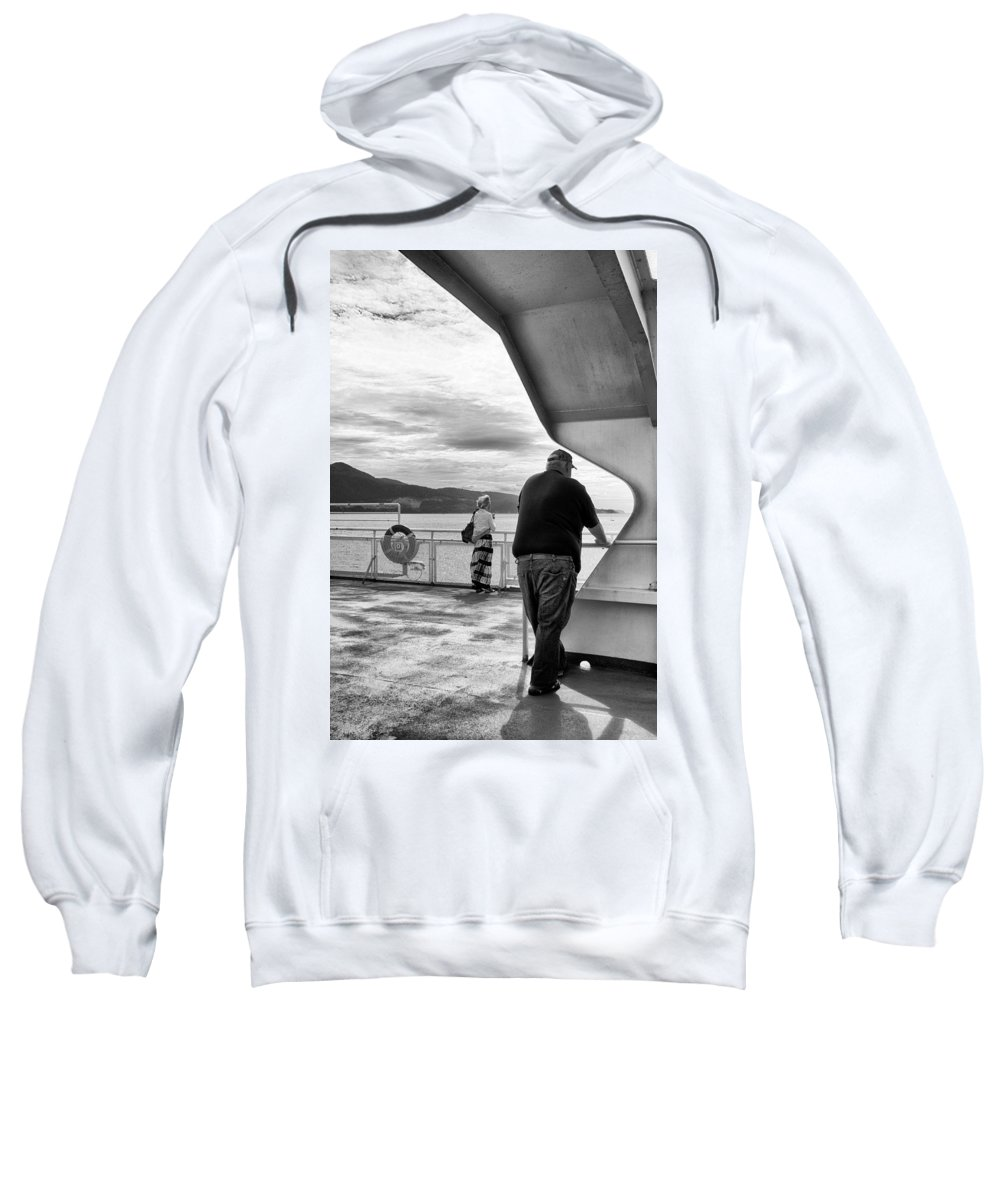 Candid Image Sweatshirt featuring the photograph Ferry Passengers by Mario Traina