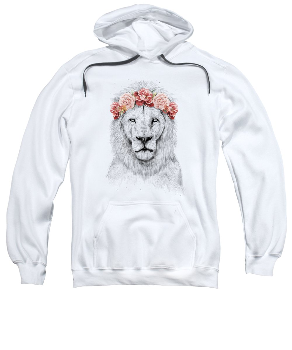 Lion Sweatshirt featuring the drawing Festival Lion by Balazs Solti