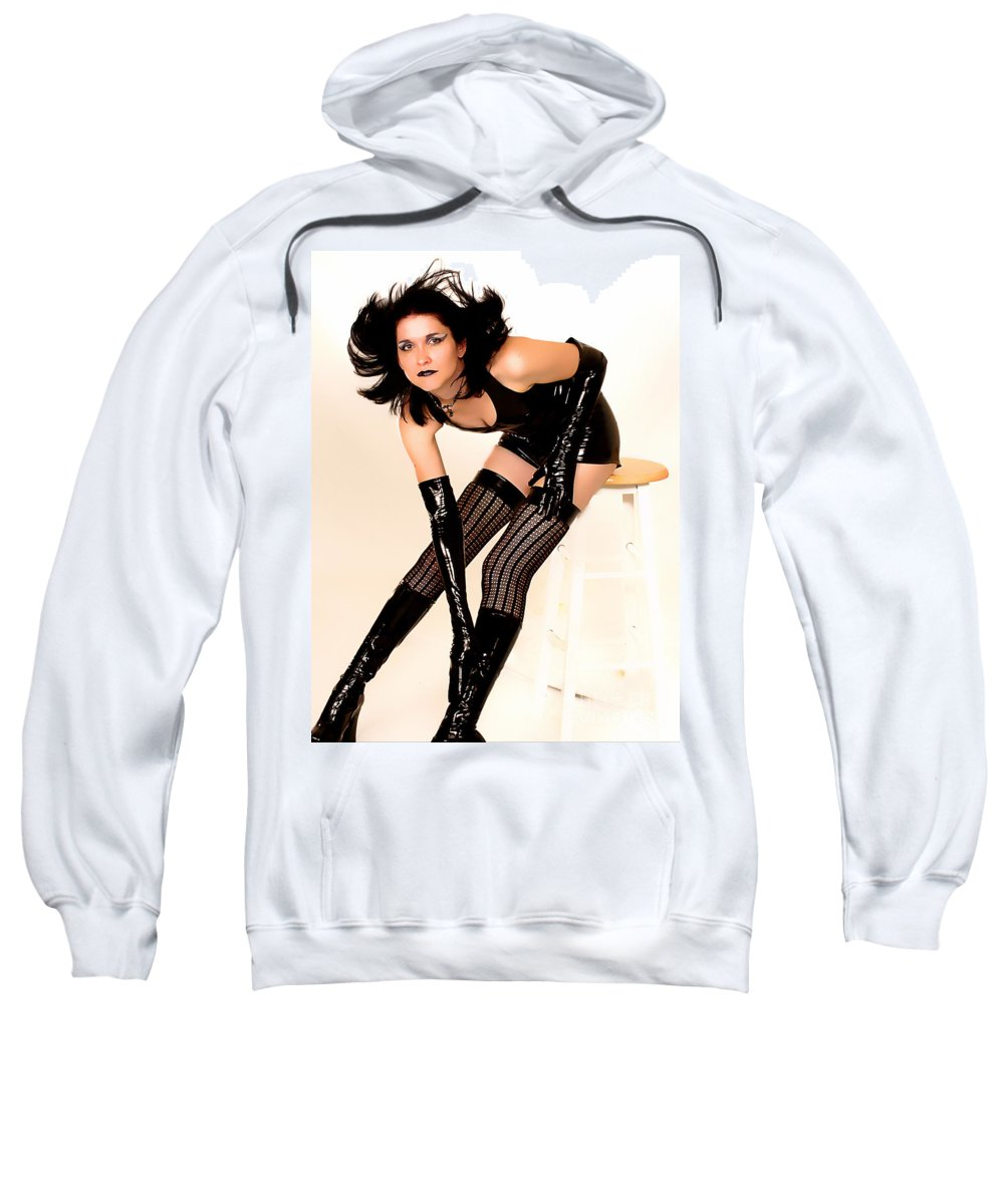 Clay Sweatshirt featuring the photograph Fetish Pinup by Clayton Bruster