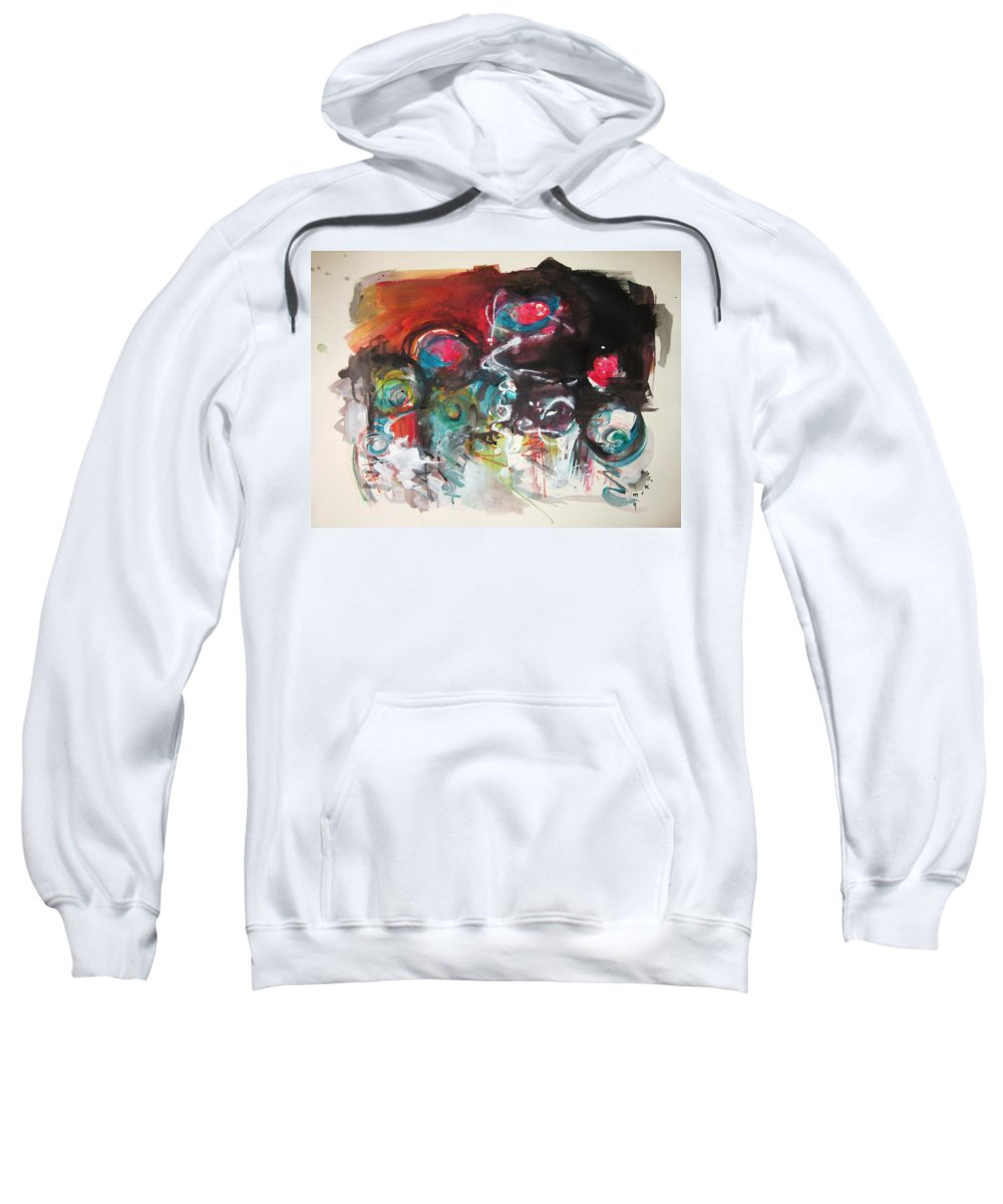 Fiddleheads Paintings Sweatshirt featuring the painting Fiddleheads- Landscape Painting For Sale Red Blue Green by Seon-Jeong Kim