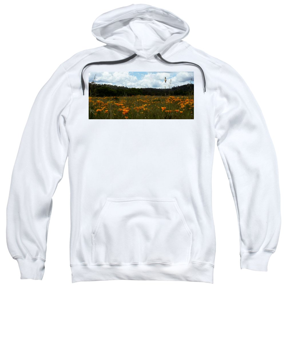 Field Of Poppies Sweatshirt featuring the photograph Field Of Poppies by Elizabeth Waitinas