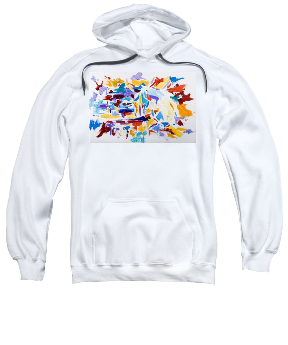 Abstract Yellow Sweatshirt featuring the painting Fiesta by Shannon Grissom