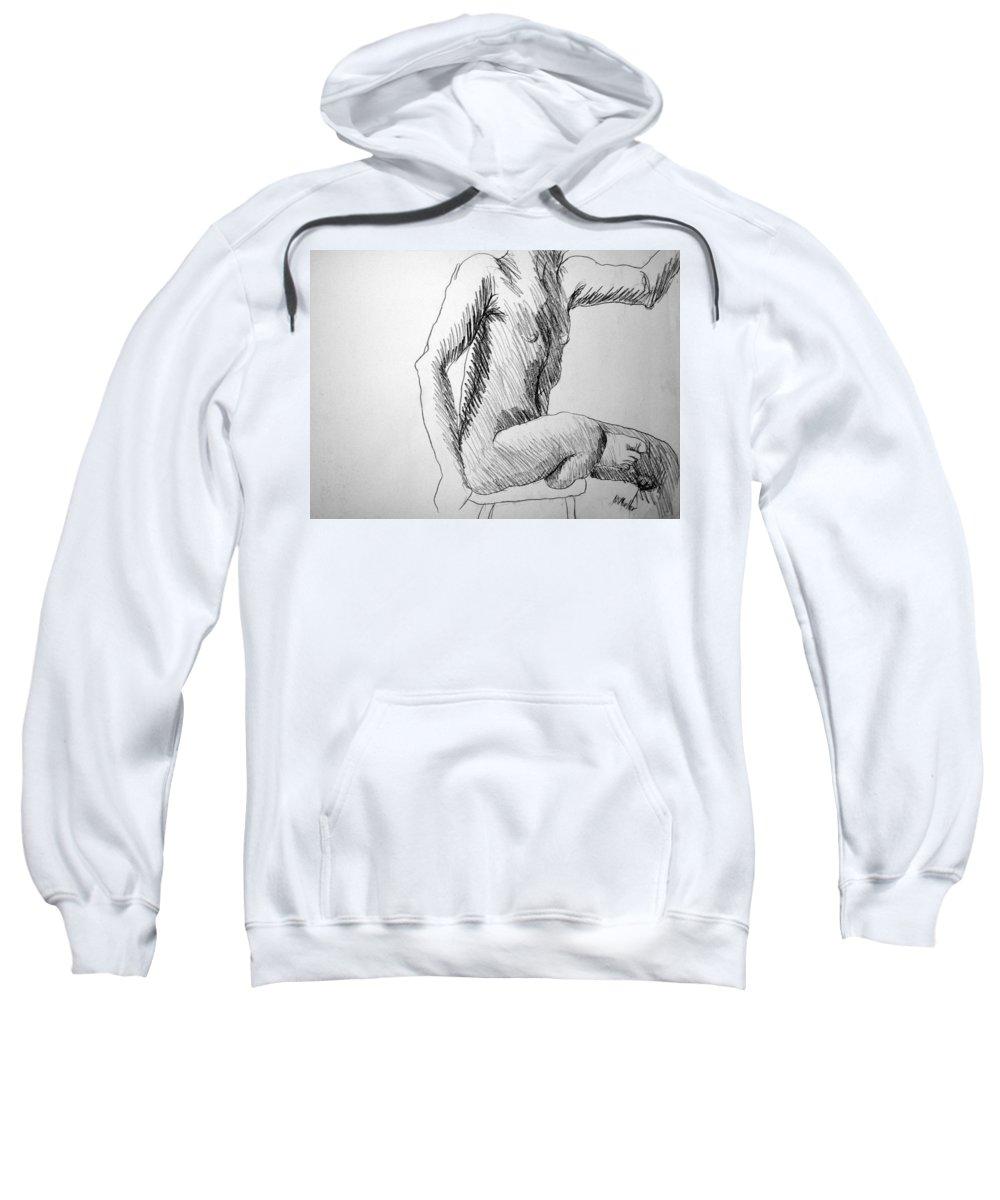Figure Sweatshirt featuring the drawing Figure Drawing 3 by Nancy Mueller