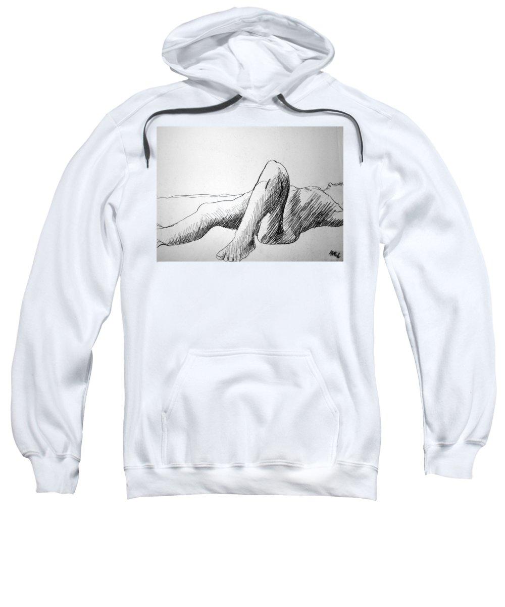 Figure Sweatshirt featuring the drawing Figure Drawing 4 by Nancy Mueller