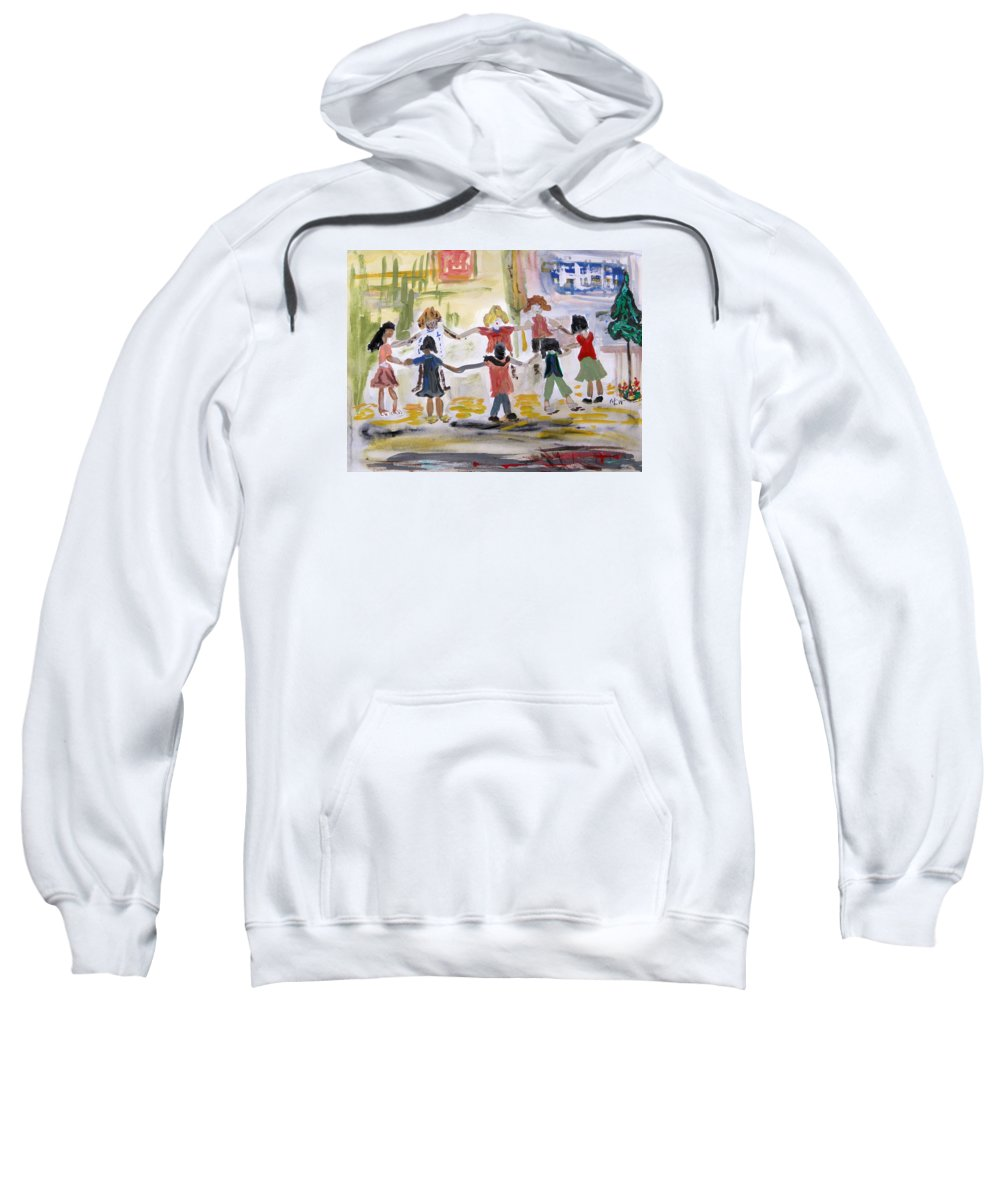 Kids Sweatshirt featuring the painting Finding Time To Play by Mary Carol Williams