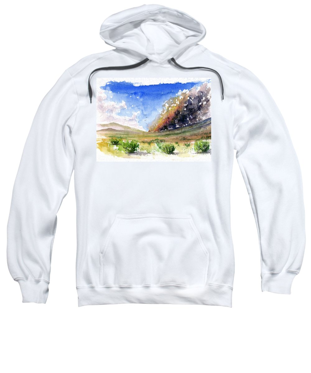 Fire Sweatshirt featuring the painting Fire In The Desert 1 by John D Benson