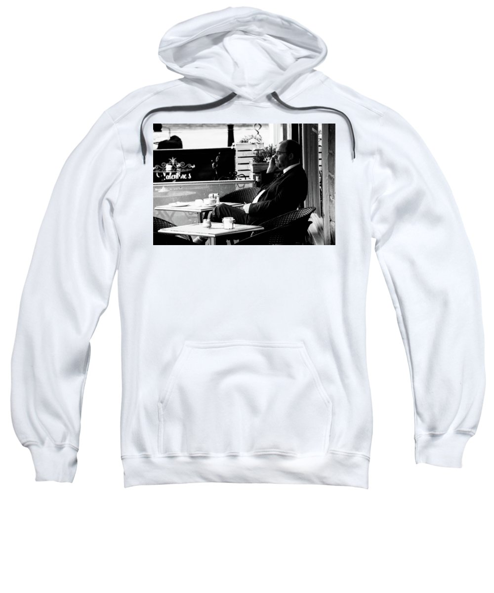 Hebden Sweatshirt featuring the photograph First Coffee by Jez C Self