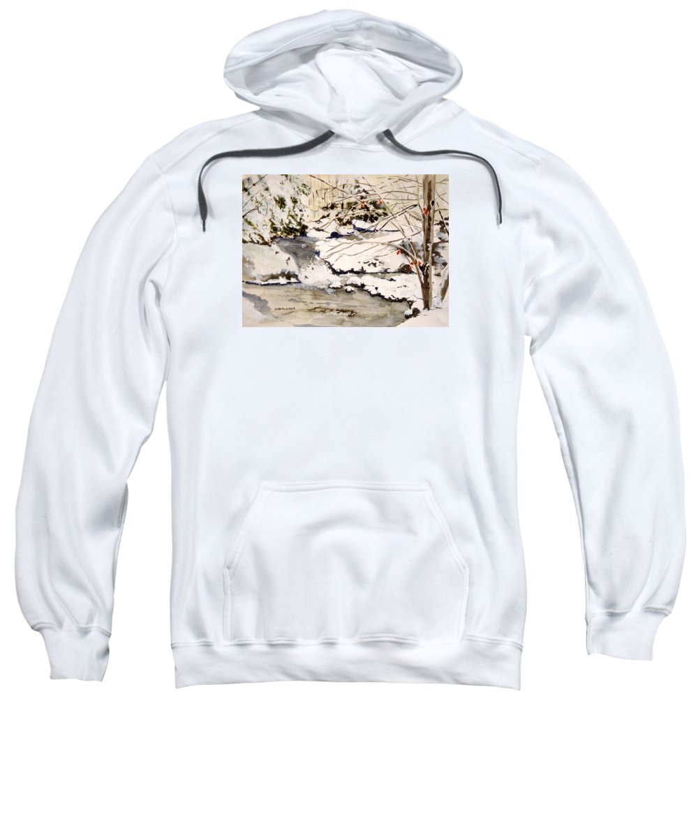 Winter Scene Sweatshirt featuring the painting First Snowfall by Jean Blackmer