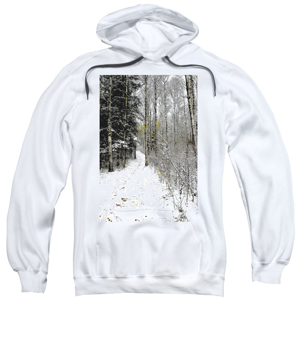 Winter Sweatshirt featuring the photograph First Snowfall by Nelson Strong