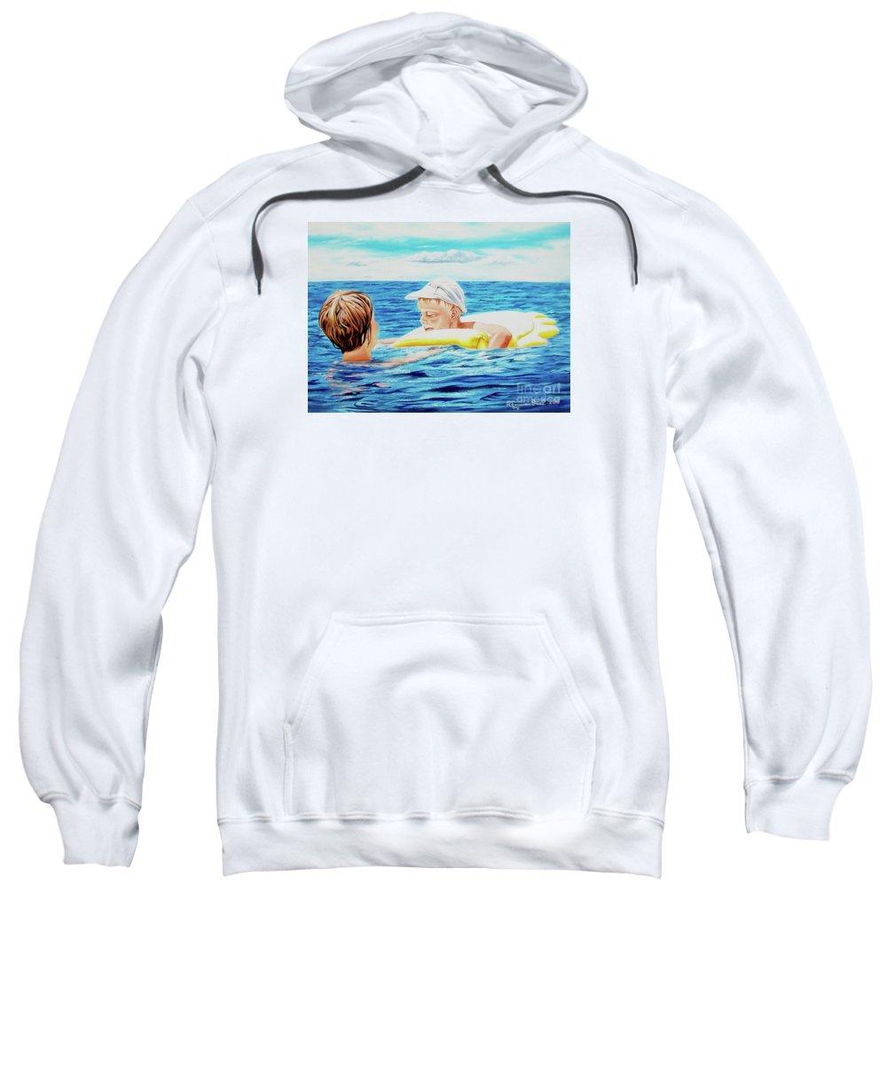 Sea Sweatshirt featuring the painting First Swimming - Nadar Primero by Rezzan Erguvan-Onal