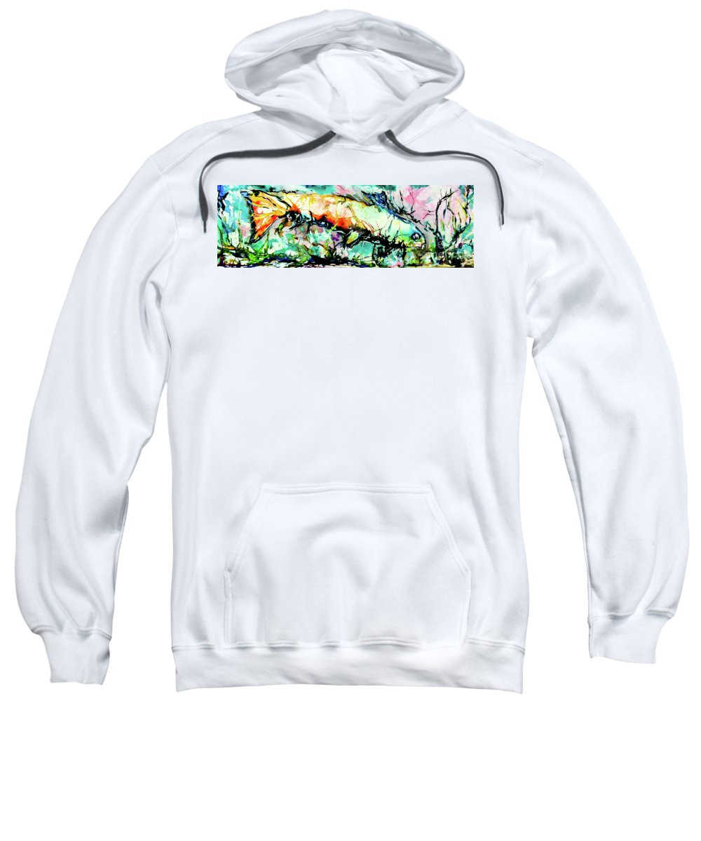 Fish Sweatshirt featuring the painting Fish Under Water by Esther Brown