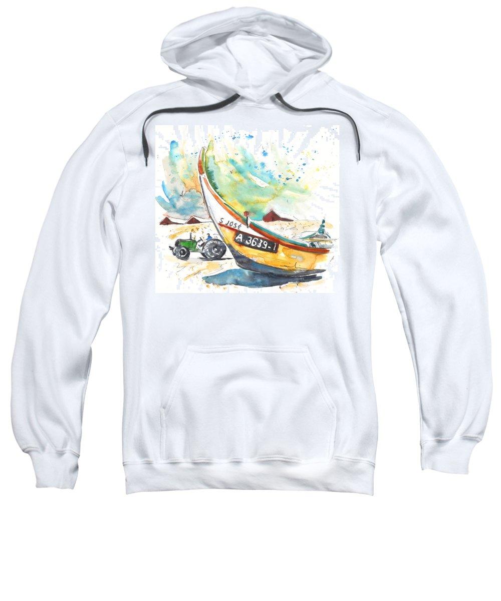 Portugal Sweatshirt featuring the painting Fisherboat In Praia De Mira by Miki De Goodaboom