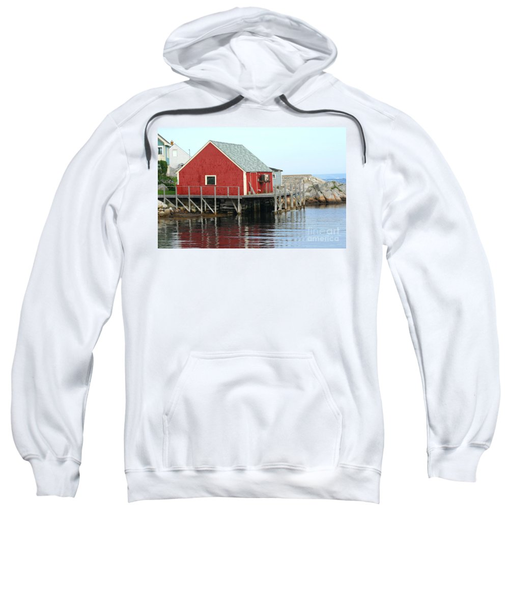 Peggy's Cove Sweatshirt featuring the photograph Fishermans House On Peggys Cove by Thomas Marchessault