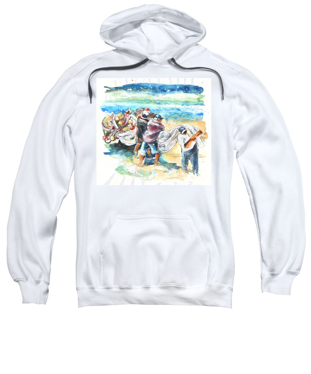 Portugal Sweatshirt featuring the painting Fishermen In Praia De Mira by Miki De Goodaboom