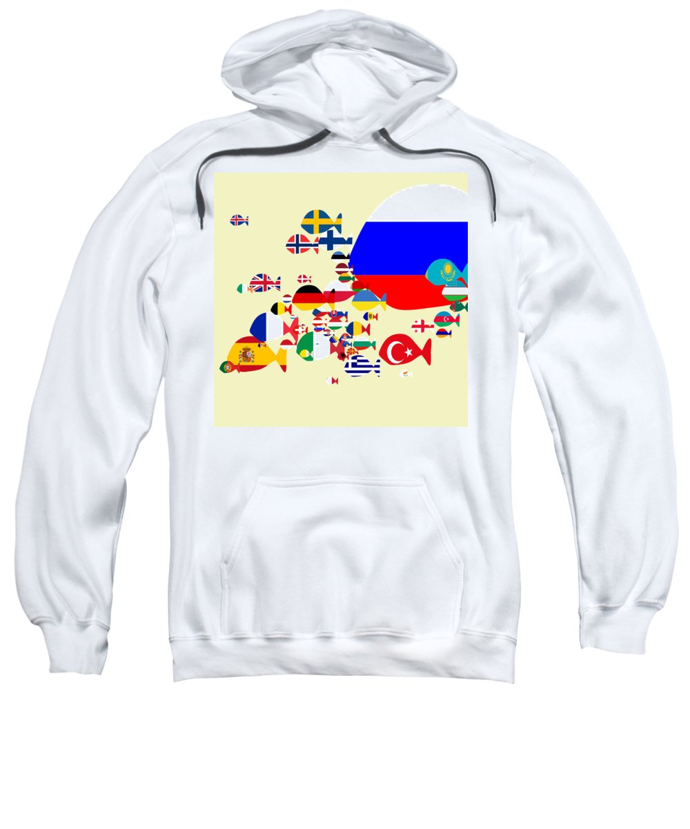 Fishes Sweatshirt featuring the digital art Fishes Map Of Europe by Keshava Shukla