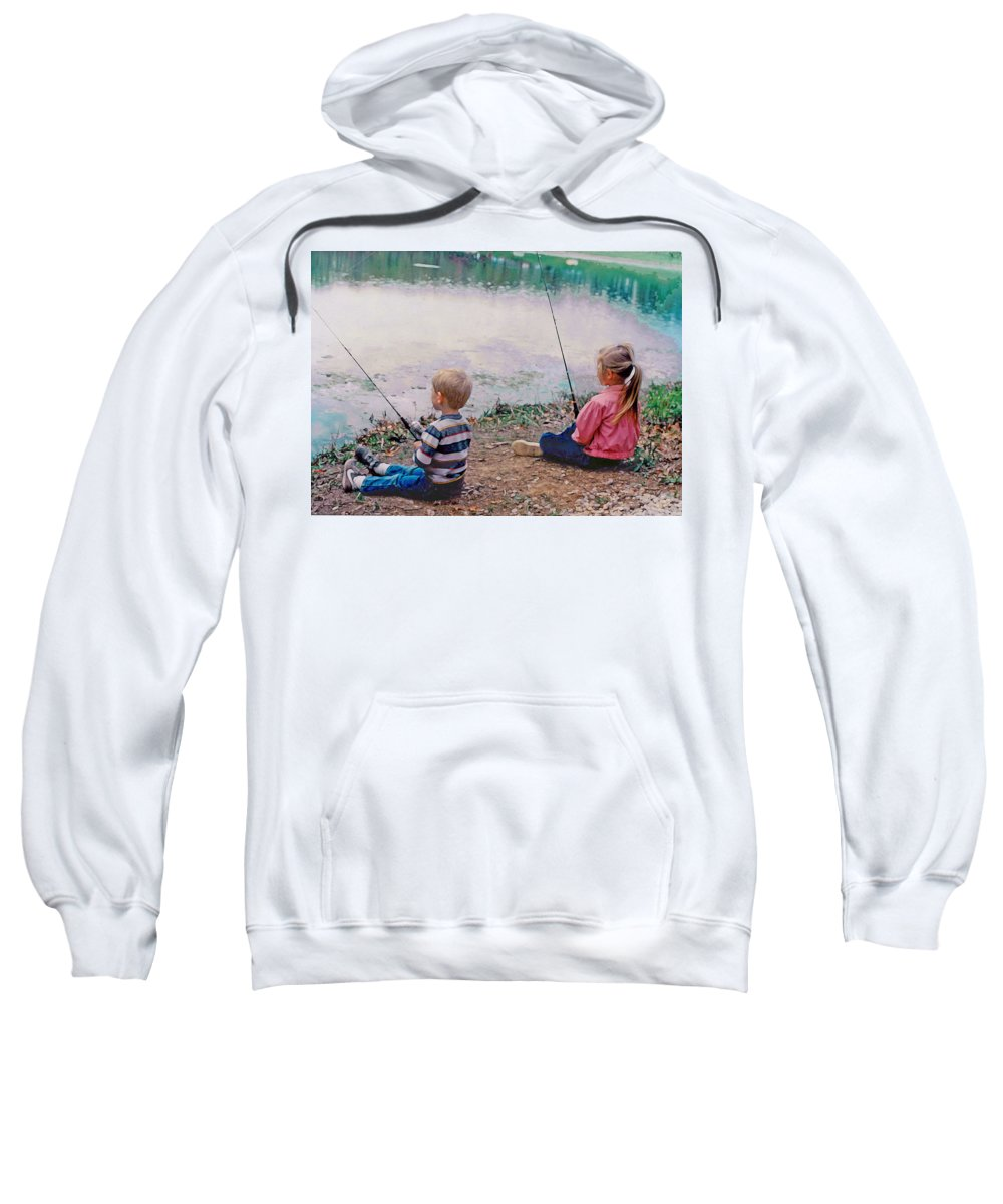 Landscape Sweatshirt featuring the digital art Fishing At Watkins Mill by Steve Karol