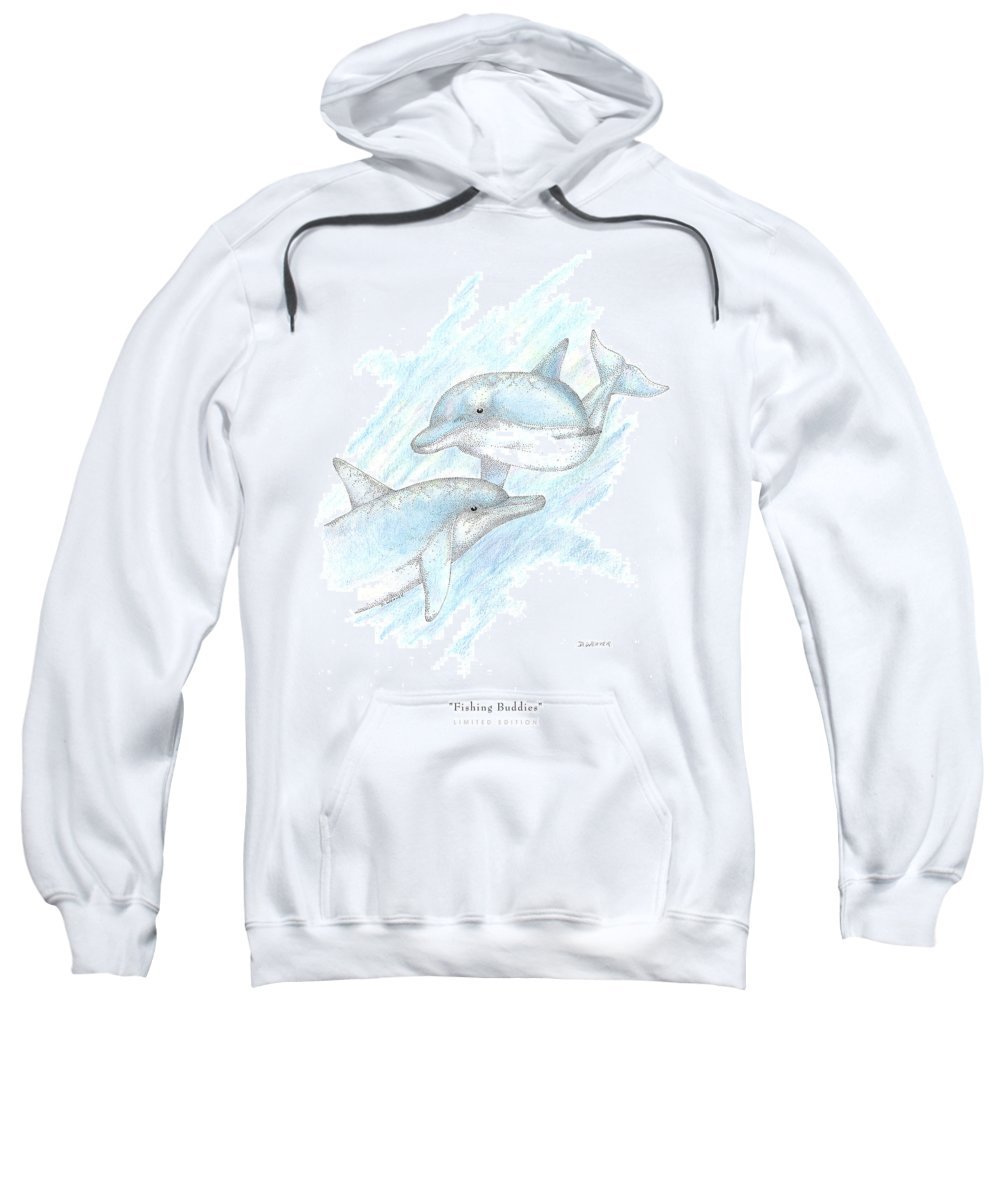 Dolphins Sweatshirt featuring the drawing Fishing Buddies by David Weaver