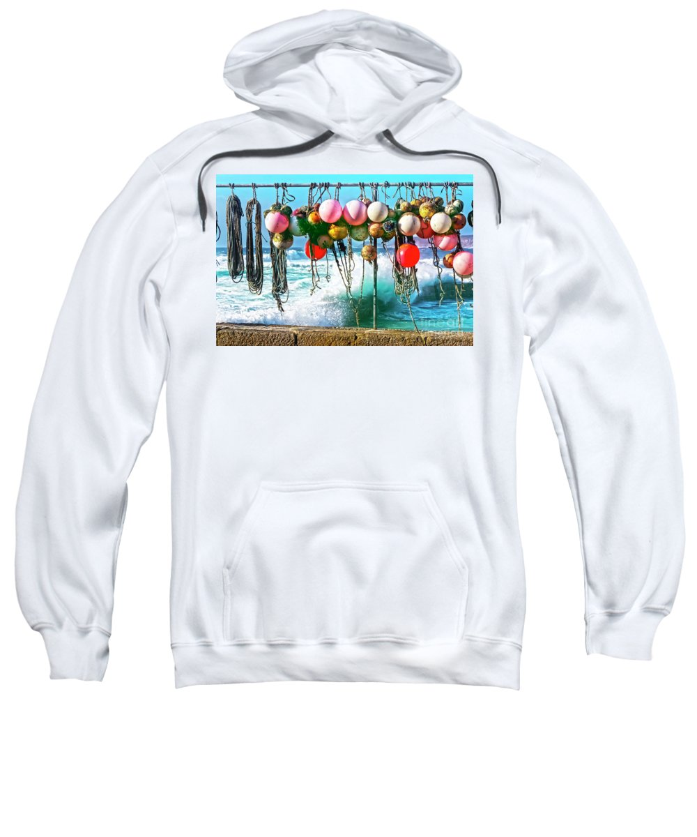 Cornwall Sweatshirt featuring the photograph Fishing Buoys by Terri Waters
