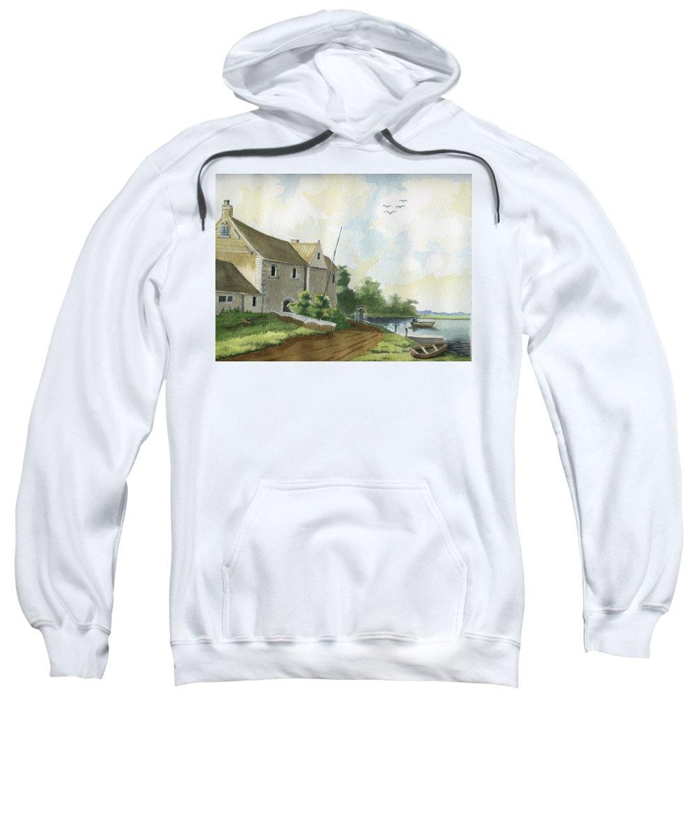 Lake Sweatshirt featuring the painting Fishing Lake by Alban Dizdari
