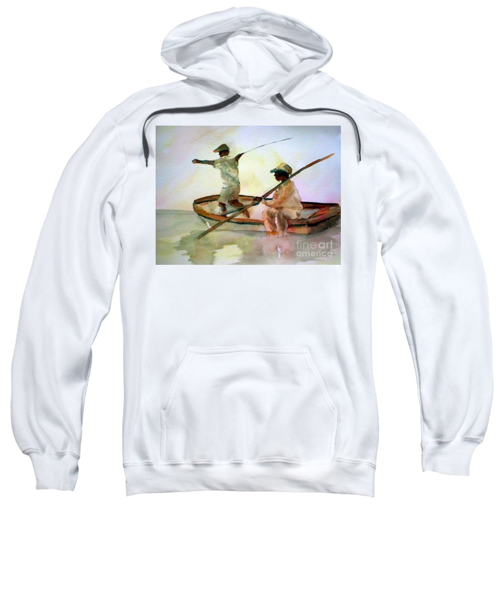 Fishing Sweatshirt featuring the painting Fishing by Rhonda Hancock
