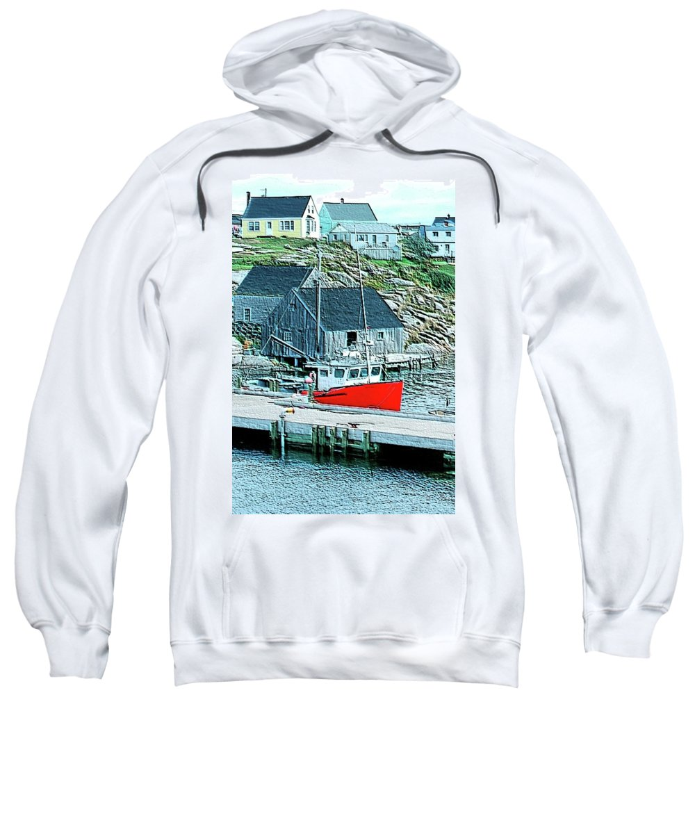 Red Sweatshirt featuring the photograph Fishing Village by Kathleen Struckle