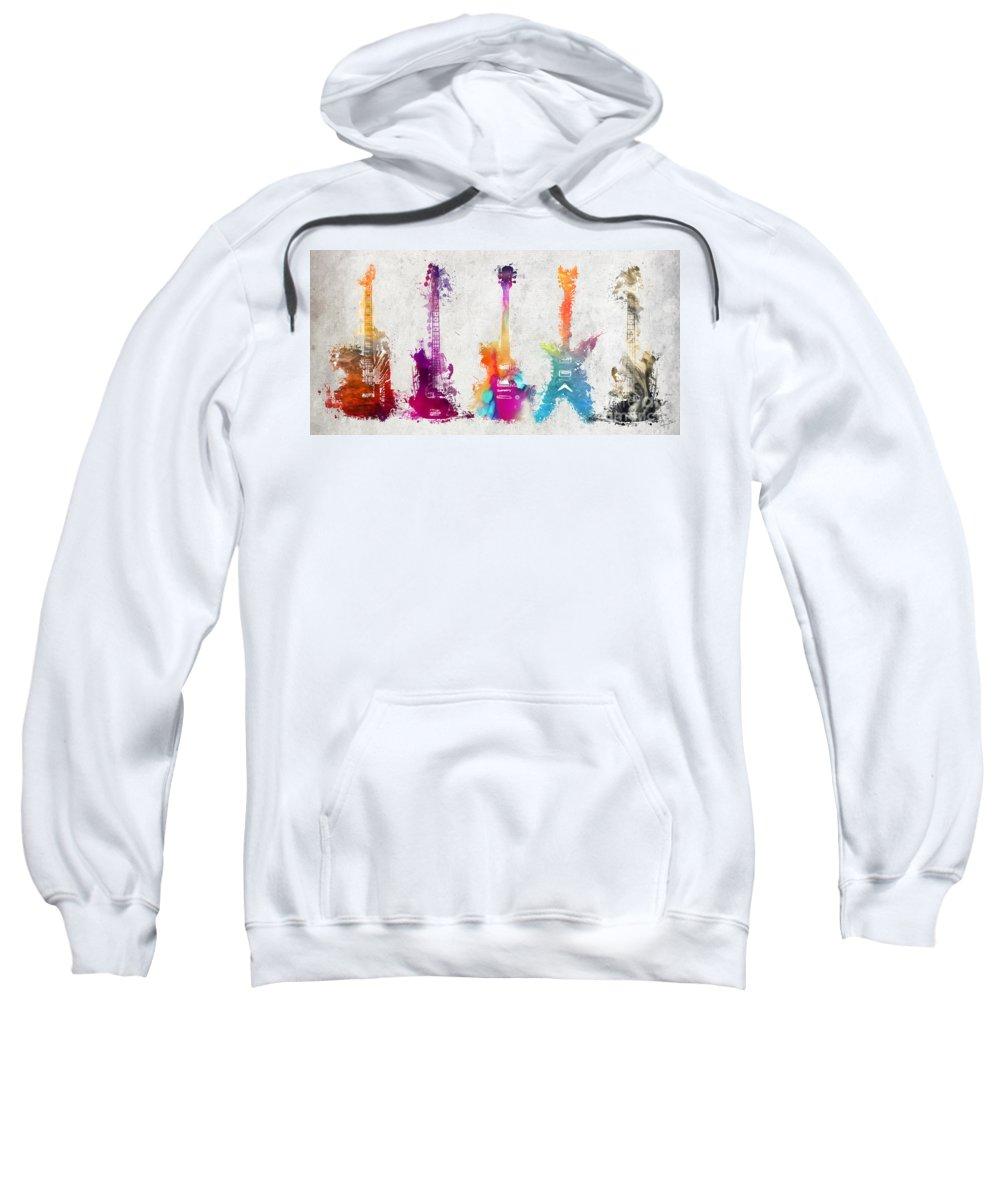 Guitar Sweatshirt featuring the digital art Five Colored Guitars by Justyna Jaszke JBJart