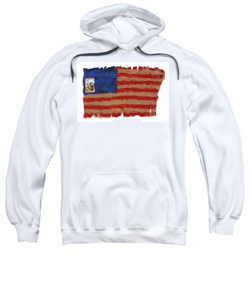 Flag Sweatshirt featuring the mixed media Flag 2 by Jaime Becker