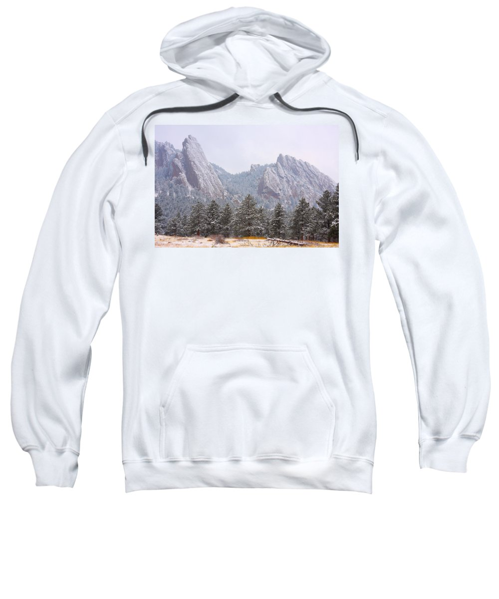 Flatirons Sweatshirt featuring the photograph Flatirons From The South Boulder Colorado by James BO Insogna