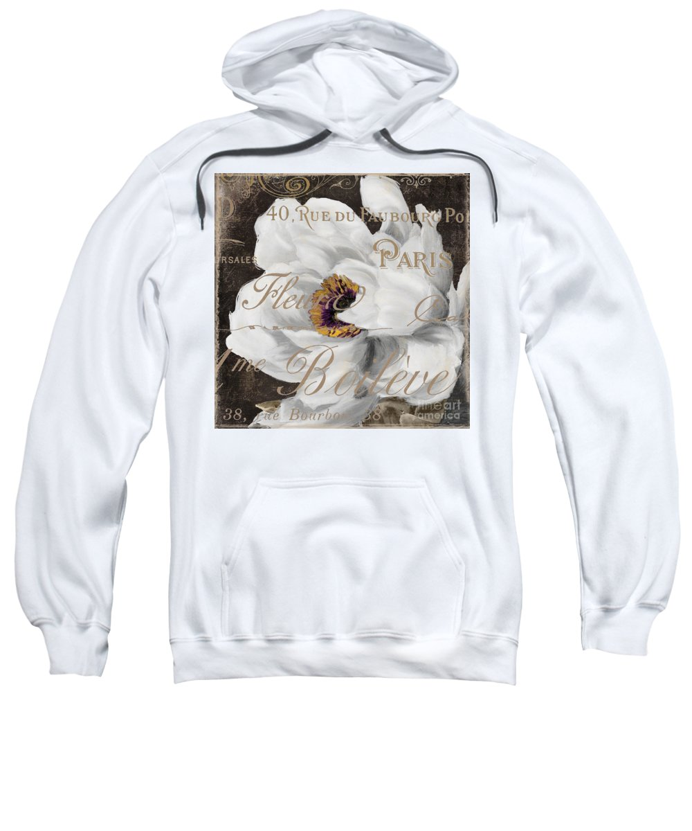 White Peony Sweatshirt featuring the painting Fleurs Blanc by Mindy Sommers