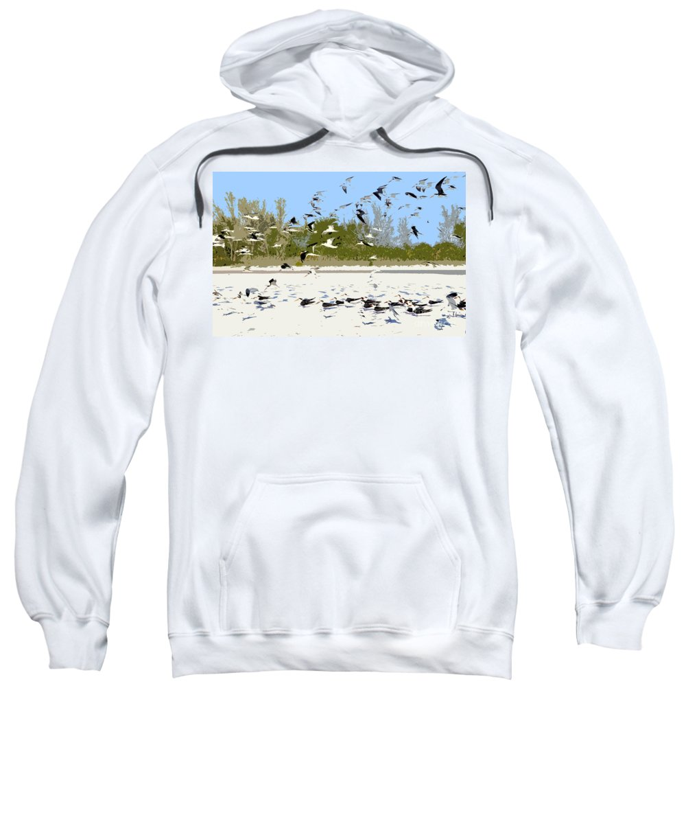 Seagulls Sweatshirt featuring the painting Flock Of Seagulls by David Lee Thompson