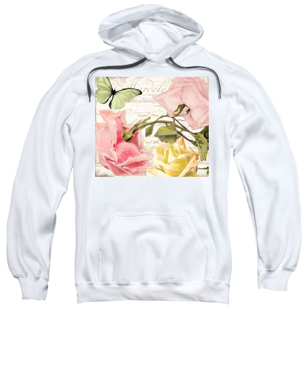 Shabby Roses Sweatshirt featuring the painting Florabella I by Mindy Sommers