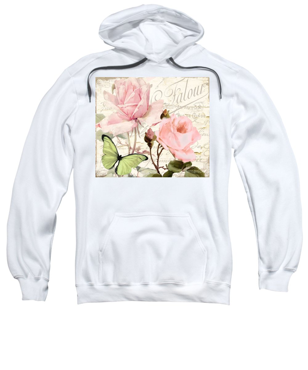 Shabby Roses Sweatshirt featuring the painting Florabella IIi by Mindy Sommers